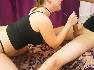 Rough Blowjob For Submissive Wife Cristall Gloss