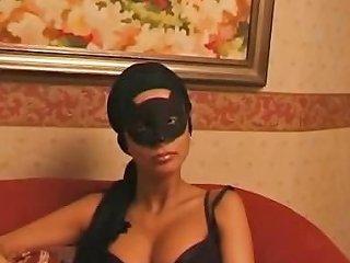 Brunette Italian Wife In A Mask Gets A Full Bottle Of Wine Drtuber