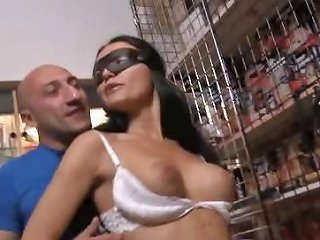Italian Brunette Wife Wearing A Mask Eats Cock And Gets Drtuber